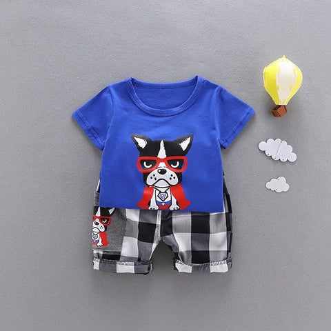 d07613cf80183 newborn baby boy clothes 2018 new cartoon short sleeve t shirt tops +  casual plaid pants 2pcs summer set for 0-2 age boys infant