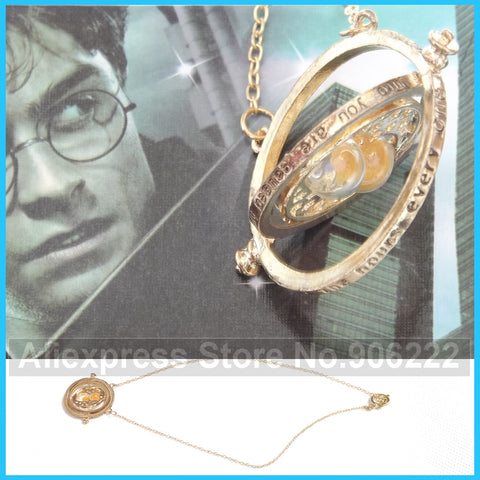 (2 pieces/lot) Gold Plated Harry Potter Time turner Necklace Hermione Granger Rotating Spins Hourglass