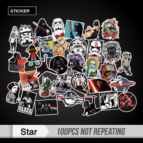 100pcs Mixed Star Wars Stickers Graffiti JDM Sticker for Kid DIY Skateboard Laptop Luggage Phone Car Bicycle Waterproof Stickers