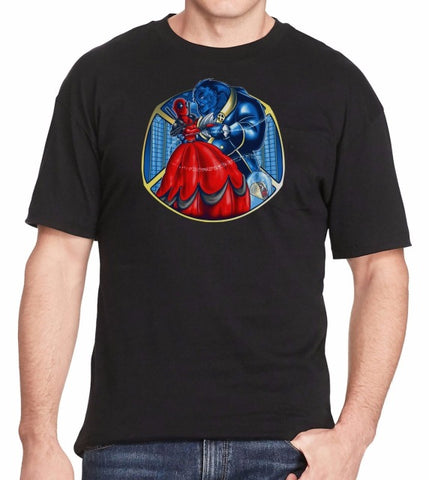 Beauty & The Beast T-Shirt - Deadpool and Xmen Mashup T-Shirt Summer Short Sleeves Fashion T Shirt Free Shipping