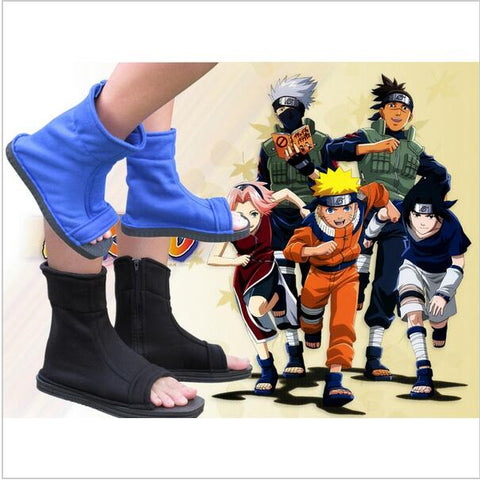 00 Top Naruto Konoha Ninja Village Black Blue Cosplay Shoes Sandals Boots Costumes Gift