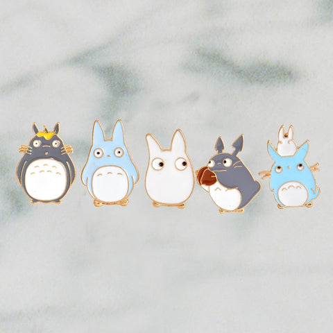 5pcs/set Japanese Anime Miyazaki Hayao Kawaii Cartoon My Neighbor Totoro Brooches Pins Girl Jeans Bag Decoration For Friend