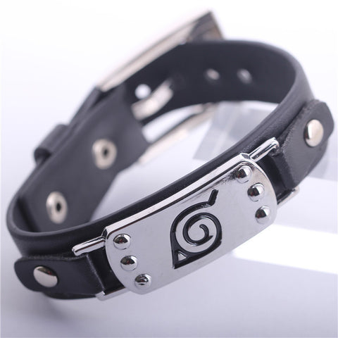 2015 Anime Naruto Black Wristband Unisex Leaf Village Badge Alloy Leather Bracelet New - Animetee - 1