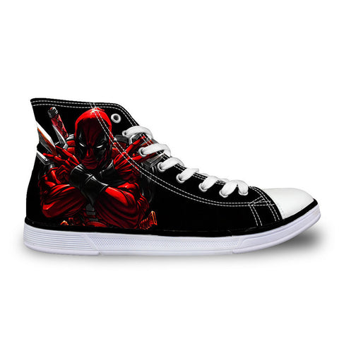 2016 Hot Sale Mens Casual Shoes Cool Cartoon Super Hero Deadpool Printed Shoes For Men Fashion Boy Student High-top Canvas Shoes - Animetee - 7
