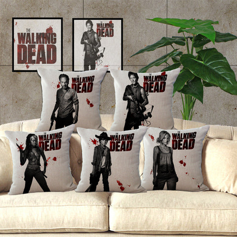 Walking Dead Cotton Linen Pillow 18 inches - Animetee - 1