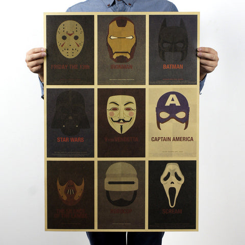 Kraft Paper HULK IRONMAN STAR WARS MASK Vintage paper Poster HOME WALL DECOR 28x20inch (71*51.5cm)  GIFT - Animetee