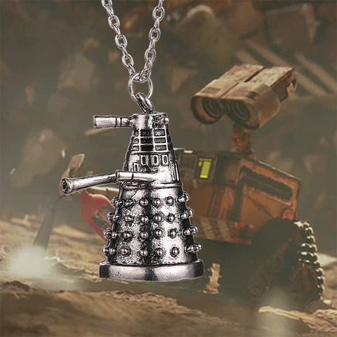 dr doctor who dalek necklace vintage retro alien robot antique silver pendant jewelry for men and women - Animetee