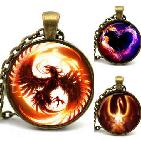 2015 Newest Song Of Ice And Fire Game Of Thrones Antique Bronze Chain Cabochon Firebird Dragon Necklace Of Juego De Tronos - Animetee - 1