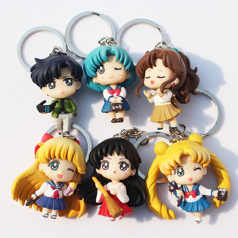 6pcs/set Q Verison Sailor Moon Keychain Pendant Tsukino Usagi Sailor Mars Jupiter Venus Mercury Tuxedo PVC Figure Toys - Animetee