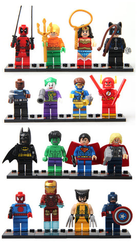 16 pieces works with Lego Building Blocks Marvel Super Heroes Avengers Hulk Deadpool Iron Man Action Figures minifigures toys - Animetee