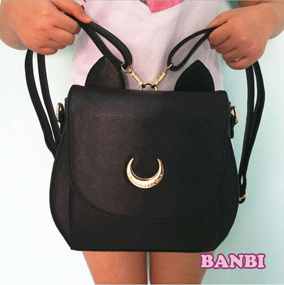 2016 Cute Large Sailor Moon Samantha Vega Luna Backpack Black White Cat Luna Moon Women Bag Leather School Bag metal moon - Animetee - 2