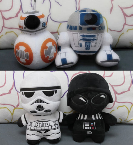 Star Wars 7 BB8 plush toys set 2016 New The Force Awaken BB-8 Droid Robot R2D2  Darth Vador Storm Trooper stuff Doll toy for kid - Animetee