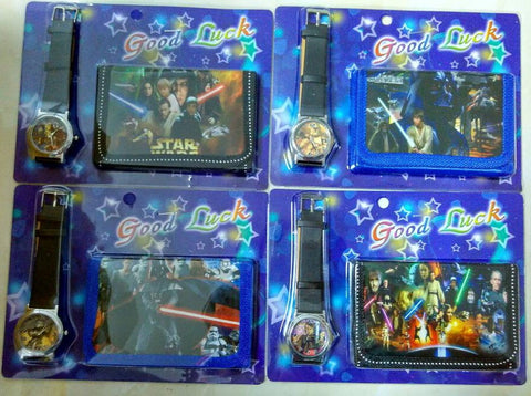 Free shipping  1pcs/lot Star Wars kids Sets watch and wallet purse wrist quartz Christmas Children gift Cartoon watches - Animetee