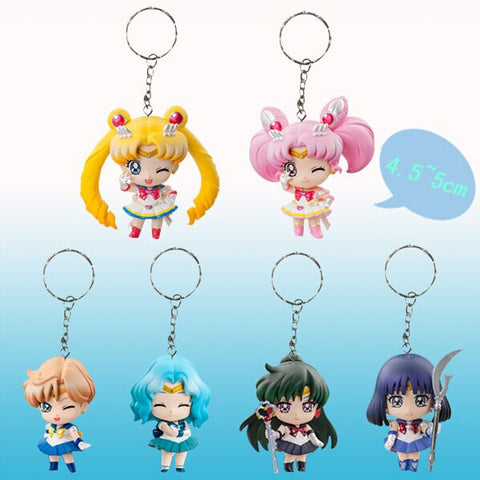 6pcs/set Sailor Moon Keychains Action Figures PVC Collection toys for christmas gift brinquedos ToyO00172 - Animetee