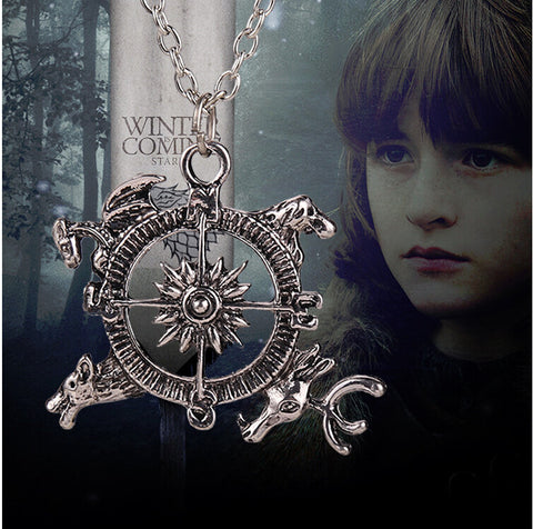 2015 New Movie Necklace Free Shipping Game of Thrones Inspired Intro Theme Crest Pendant Compass Necklace XY-N83 - Animetee