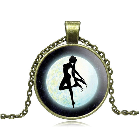 Anime Sailor Moon Glass Cabochon Pendant Necklace Tibetan silver vintage jewelry Statement Chain Necklace for Women Girl Gift - Animetee - 2