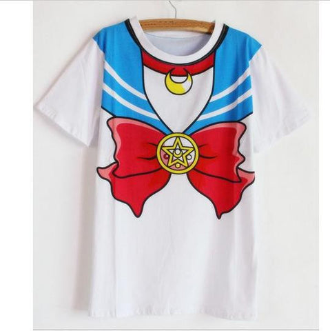 2016 new Hot Sailor moon harajuku t shirt women cosplay costume top kawaii fake sailor t shirts girl new Free Shipping - Animetee - 3