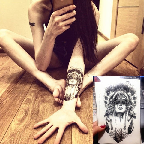 Temporary Tattoo Indian Warrior Feather Sticker Waterproof Body Art Fashion - Animetee