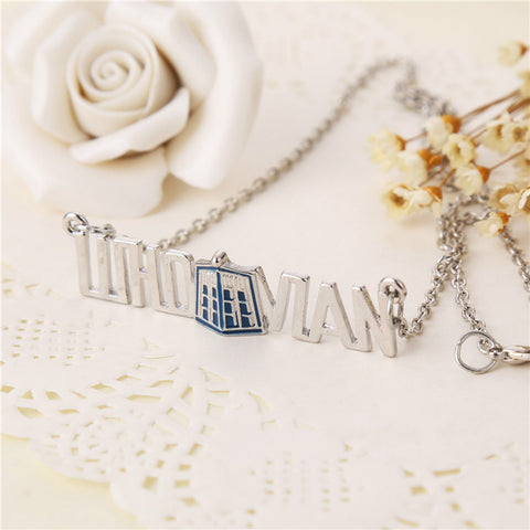 dr doctor who necklace tardis police box vintage blue silver pendant - Animetee