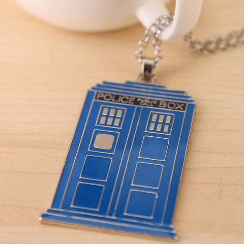 Blue TARDIS Necklace Doctor Who Police Box Pendent Necklace Dr. Mysterious House Necklace - Animetee