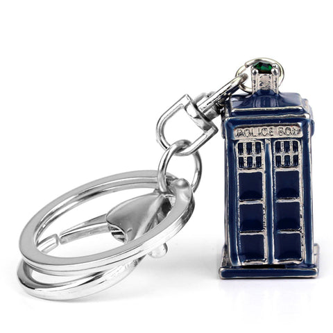 Dr Doctor Who Tardis Metal 3D Police Box Cupreous Pendant Cosplay Keychain Keyring 3 Color - Animetee - 1