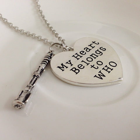 Dr Jewelry Gift Doctor Who TARDIS Necklace My Heart Belong To Who Heart With Sonic Screwdrive Pendant Necklace - Animetee