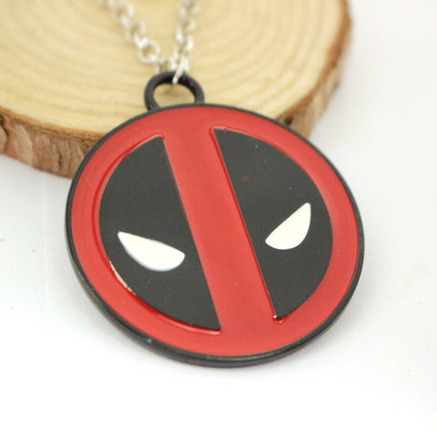 5*4.5Cm Superhero Style Deadpool Necklace Mask Red With Black Enamel Pendant Fashion Movie Marvel Men Chain Statement Necklaces - Animetee