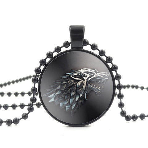 Movie Of Ice and Fire Game of Thrones Stark Wolf Pendant Glass Cabochon Picture Black Bead Chain Necklace for Women Fine Jewelry - Animetee - 2