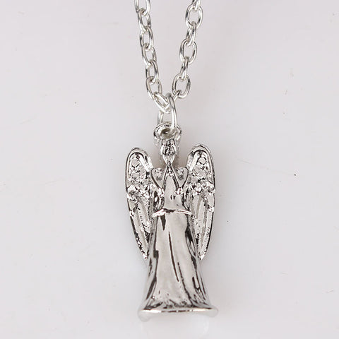 "FREE SHIPPING 2014 nice design NEW BBC TV DOCTOR DR. WHO GREY WEEPING ANGEL ANGELIC 1"" PENDANT NECKLACE  hot sale - Animetee"
