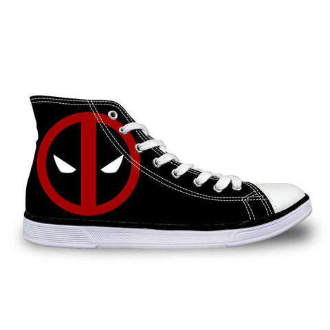 2016 Hot Sale Mens Casual Shoes Cool Cartoon Super Hero Deadpool Printed Shoes For Men Fashion Boy Student High-top Canvas Shoes - Animetee - 1
