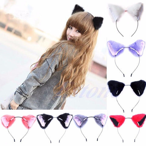 Harajuku District Japan Japanese Kawaii Neko Cat girl Fox Ear Fur hair headband anime cosplay costume - Animetee - 1