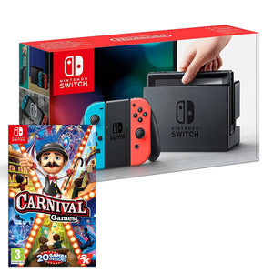 Nintendo Switch Console Neon + Carnival Games