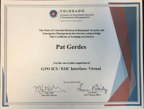 G191 State Certificate Example