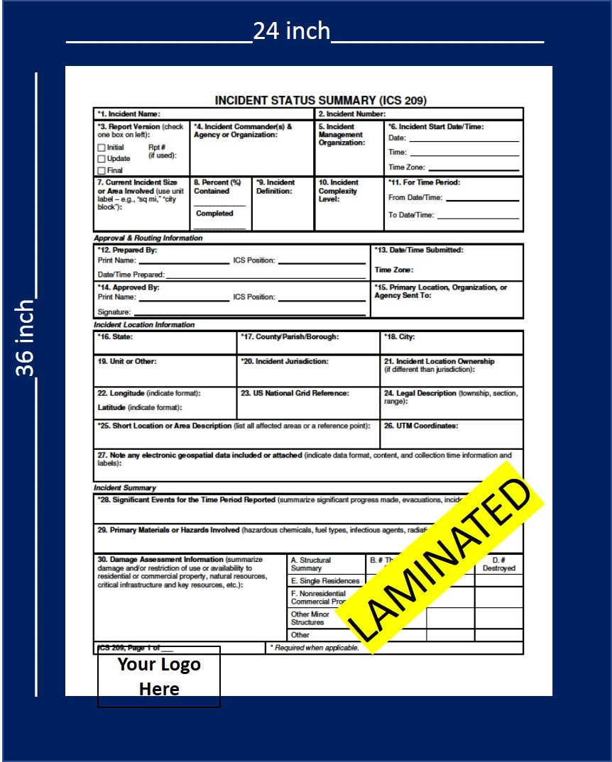 ICS 209 Incident Summary 4 Page Laminated Wallchart- 24 x 36