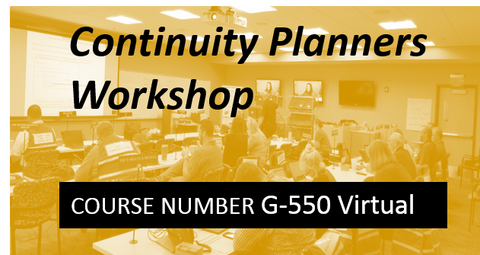 G 550: Continuity Planners Workshop - VIRTUAL