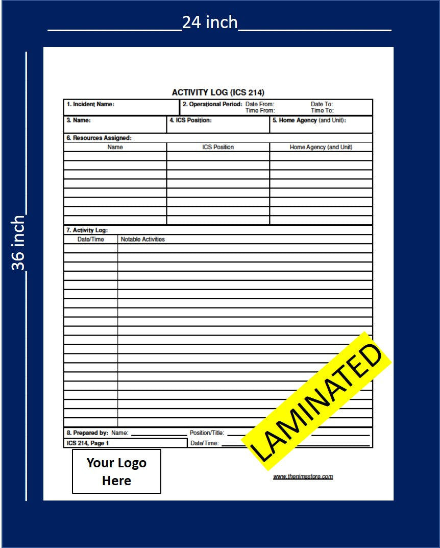 ICS 214 Unit Log- Laminated Wall Chart