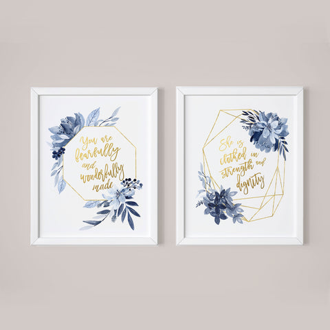 floral blue nursery art