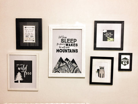 monochrome wall gallery nursery