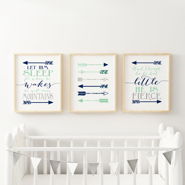 And though he be little - Let he sleep - Navy Mint Gray