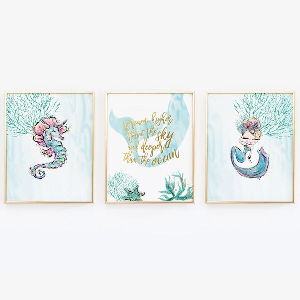 Mermaid Wall Art - Mermaid and Seahorse - Set of Three Prints - Wall Prints