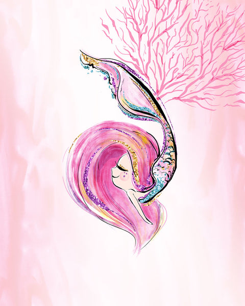 Pink Mermaid Wall Art and Seahorse - Set of Three Prints