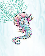 Load image into Gallery viewer, Mermaid Wall Art - Mermaid and Seahorse - Set of Three Prints - Wall Prints