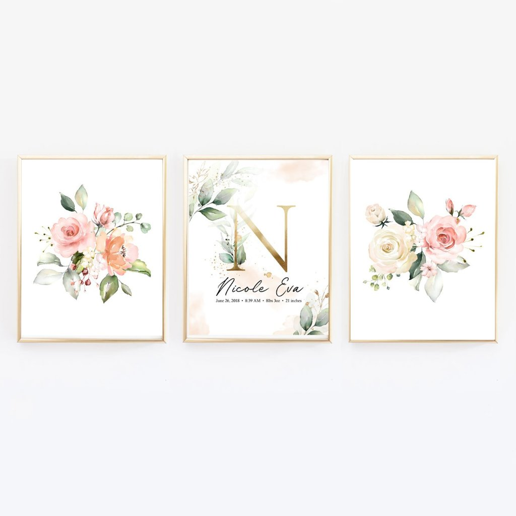 Floral Customized Nursery Wall Art with Baby Stats and Name - Set of three