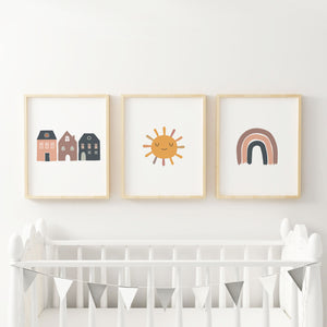 Rainbow Houses and Sun Boho Nursery Baby Girl Art