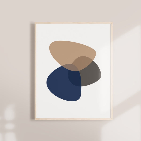 Mid Century Abstract Neutral Navy Taupe Shapes Art