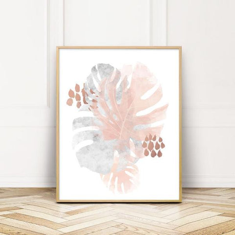 Monstera Abstract Wall Art with copper