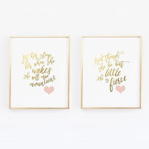 And though she be but little - Let her sleep - Blush and Gold Nursery Print  - Set of 2 - Wall Prints