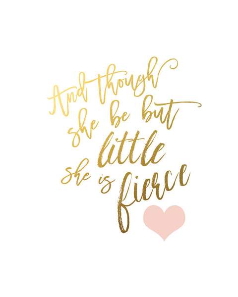 And though she be but little - Let her sleep - Blush and Gold Nursery Print  - Set of 2