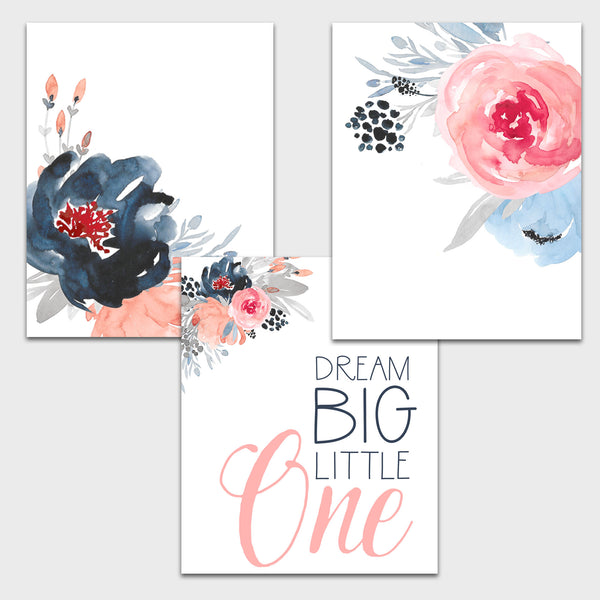 Dream Big Little One Nursery Watercolor Floral Prints