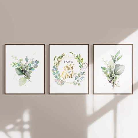I am a child of God with leaves - Nursery Wall Art